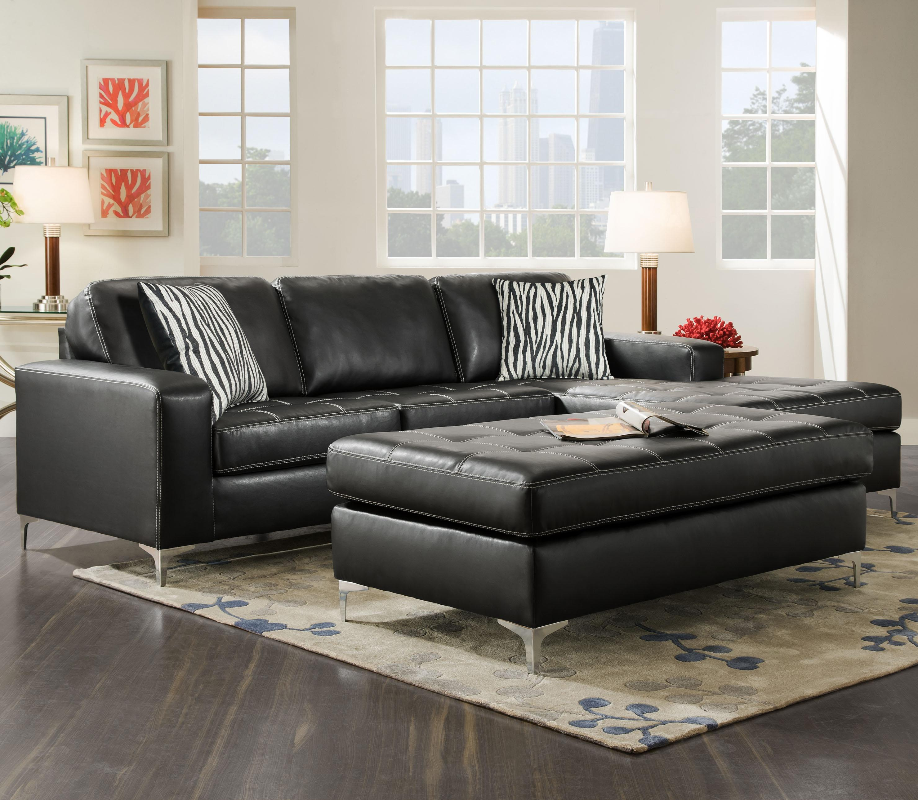 American Furniture 7400 Three Seat Sectional with Right Side Chaise - Item Number: 7410+40-8811