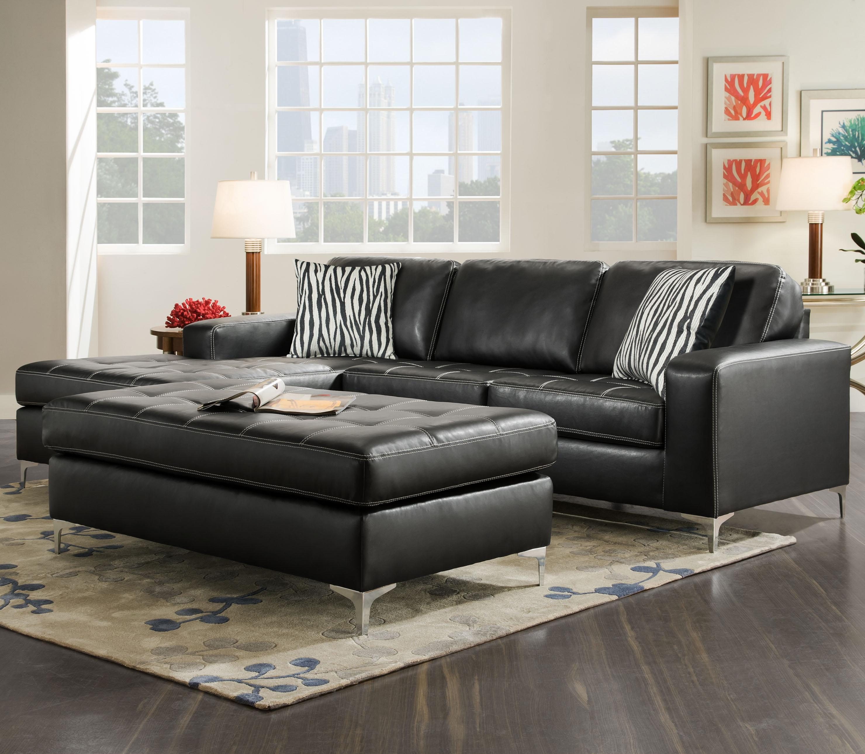 American Furniture 7400 Three Seat Sectional with Left Side Chaise - Item Number: 7430+20-8811