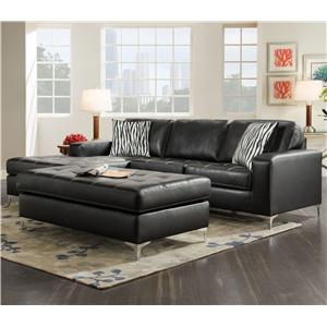 American Furniture 7400 Three Seat Sectional with Left Side Chaise