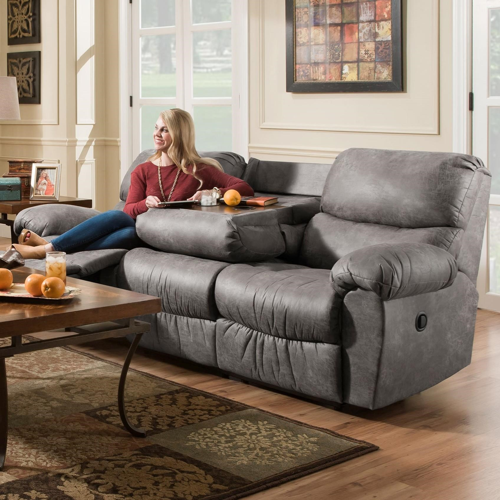 Peak Living Af310 Casual Power Reclining Sofa With Fold Down Center Table Prime Brothers Furniture Reclining Sofas