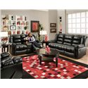 American Furniture AF550 Group Reclining Loveseat with Console and Contemporary Style - AF5502 4801 - Shown with Coordinating Collection Sofa