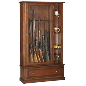 American Furniture Classics Gun Cabinets Curio Cabinet with Storage for 12 Guns