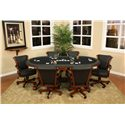 American Heritage Billiards High Stakes Oval Game Table - 100709SD-A+B - Shown with Game Chairs