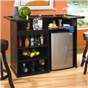 American Heritage Billiards Trenton Decorative Panel Bar with Open Shelving - 600037BLK-RF - Shown with Mini-Fridge, Not Included