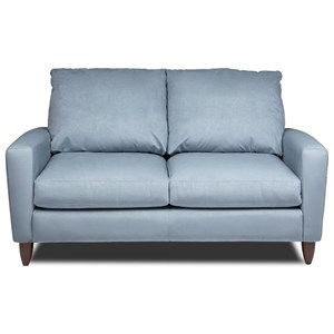 Contemporary Loveseat with Exposed Wood Legs
