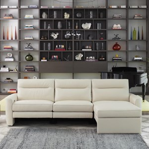 Contemporary Power Reclining Sofa with Chaise
