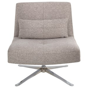 Contemporary Armless Swivel Chair with Metal Base