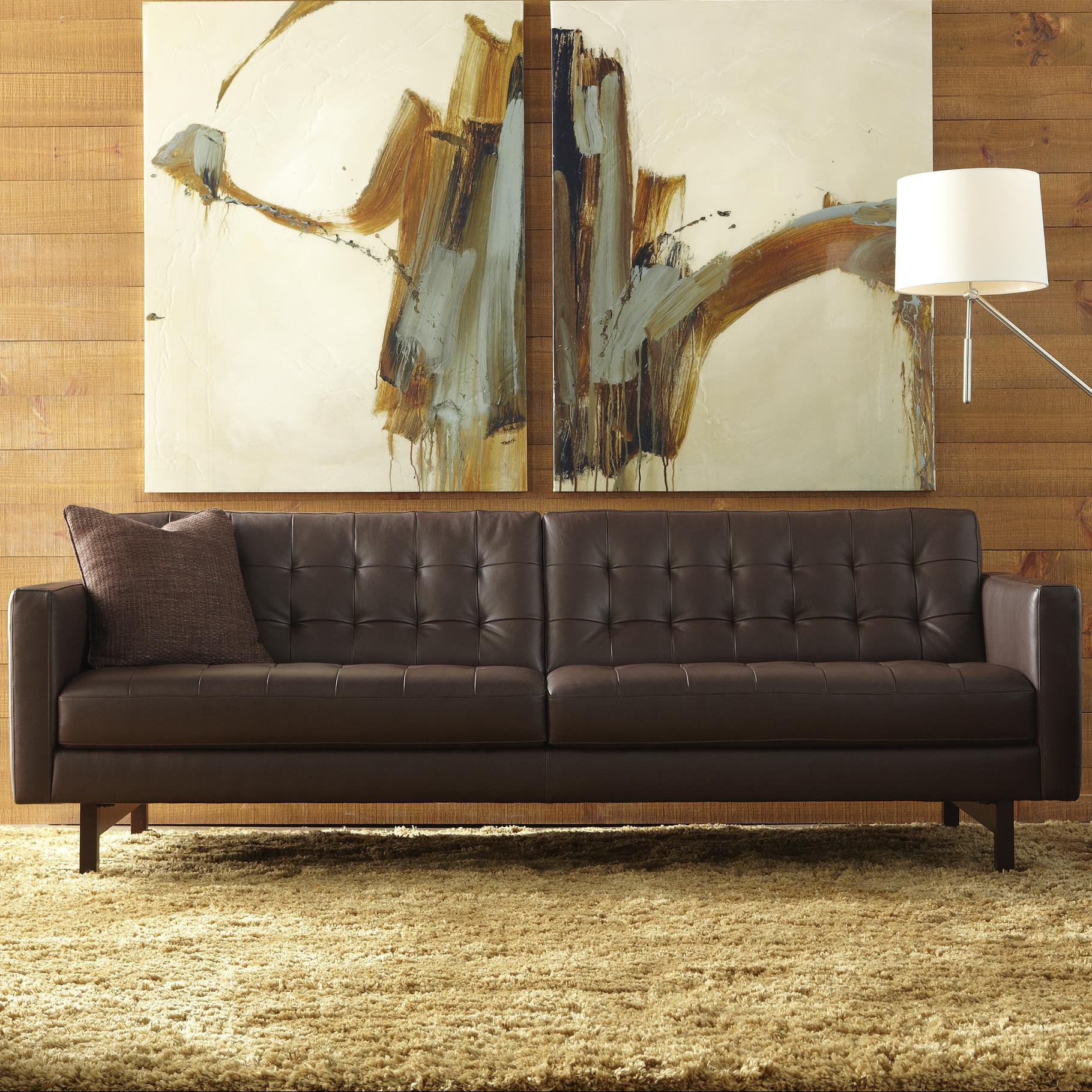 American Leather Parker Casual Sofa With Buttonless Tufted Seat Back Jacksonville Furniture