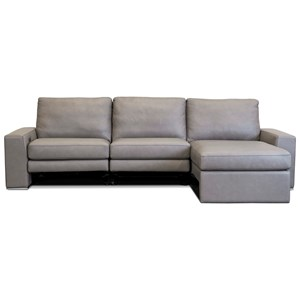Contemporary 3-Seat Power Reclining Sectional Sofa with USB Chargers and Left Arm Sitting Chaise