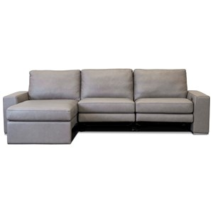 Contemporary 3-Seat Power Reclining Sectional Sofa with USB Chargers and Right Arm Sitting Chaise