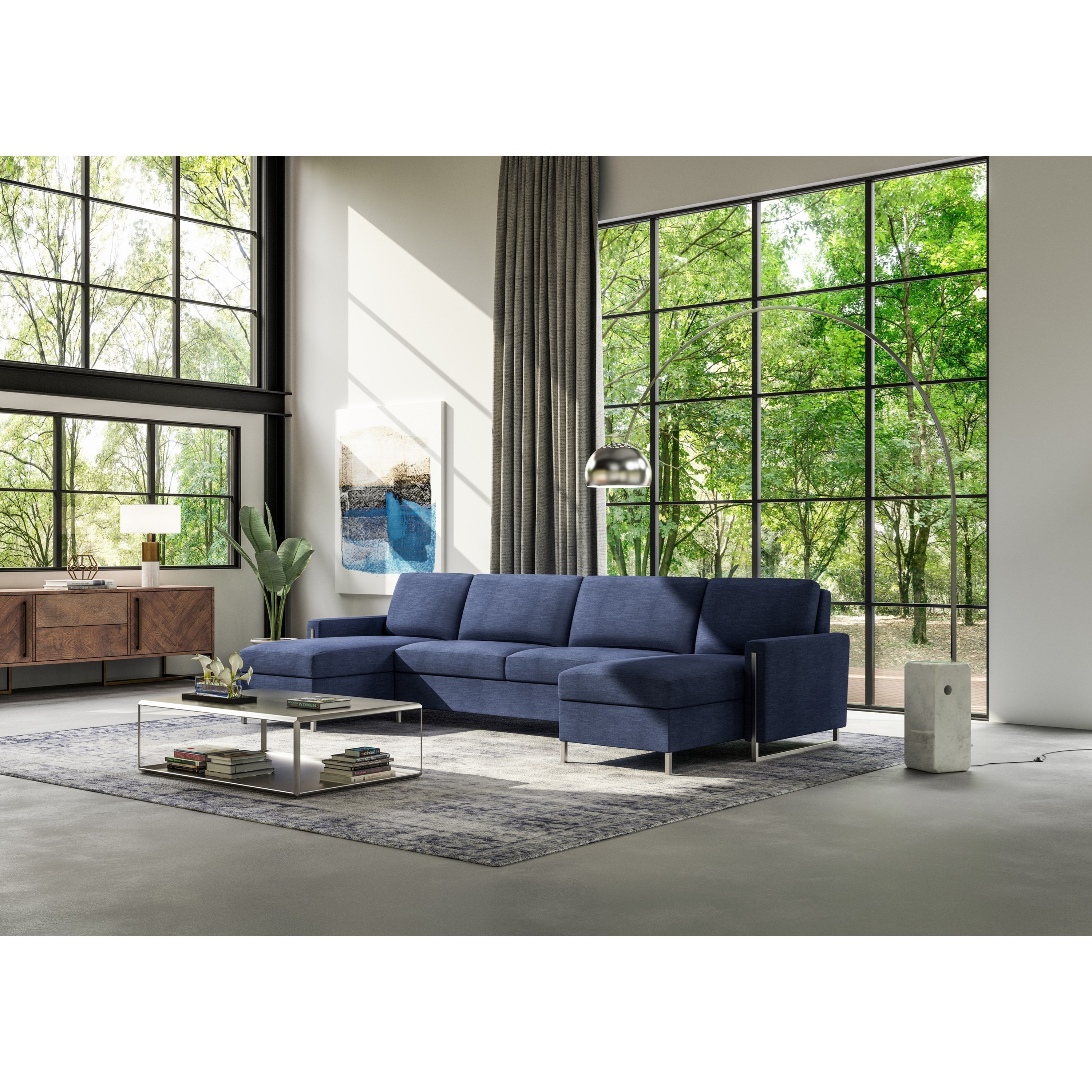 American Leather Sulley Three Piece Sectional Sofa With