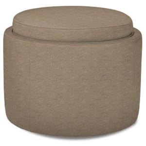 American Leather Uno Uno Round Storage Ottoman