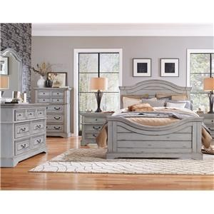 American Woodcrafters Stonebrook in Antique Gray King Panel Bed, Dresser, Mirror, Nightstand