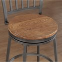 American Woodcrafters Barstools Swivel Stool with Metal Slat Back and Wood Seat