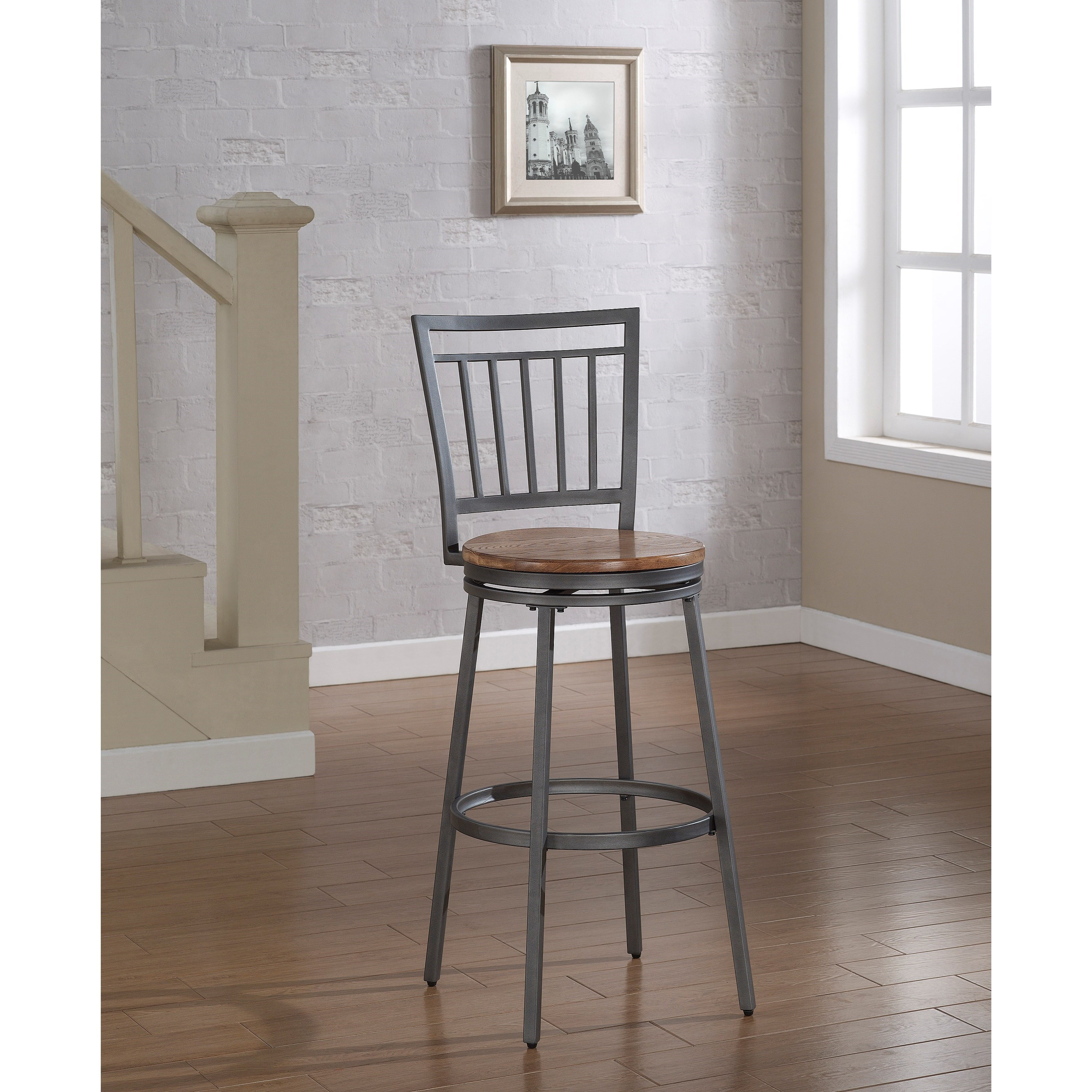 Stool with Slat Back and Metal Frame