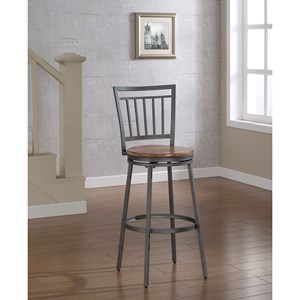 American Woodcrafters Barstools Stool with Slat Back and Metal Frame
