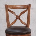 American Woodcrafters Barstools Wood Swivel Stool with French Curve X-Back