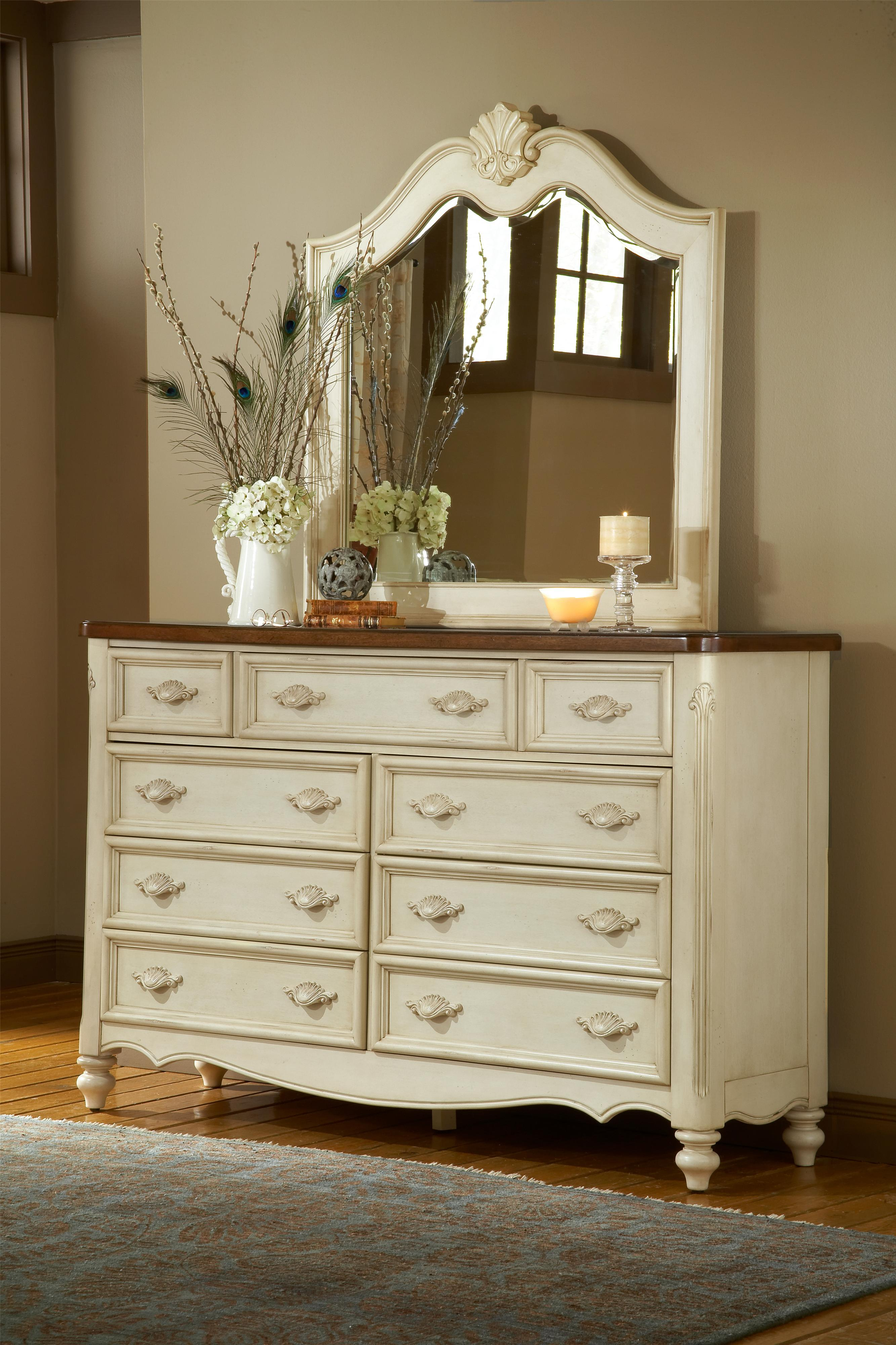 American Woodcrafters Chateau Triple Front Nine-Drawer Dresser and Mirror - Item Number: 3501-290+040