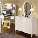 American Woodcrafters Cheri 8 Drawer Double Dresser - 10300-280 - Shown with Oval Mirror