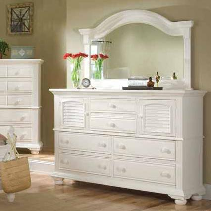 Cottage Traditions Dresser and Mirror Combo by American Woodcrafters at Johnny Janosik