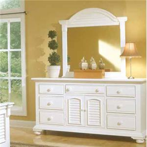 American Woodcrafters Cottage Traditions Triple Dresser and Mirror Combo