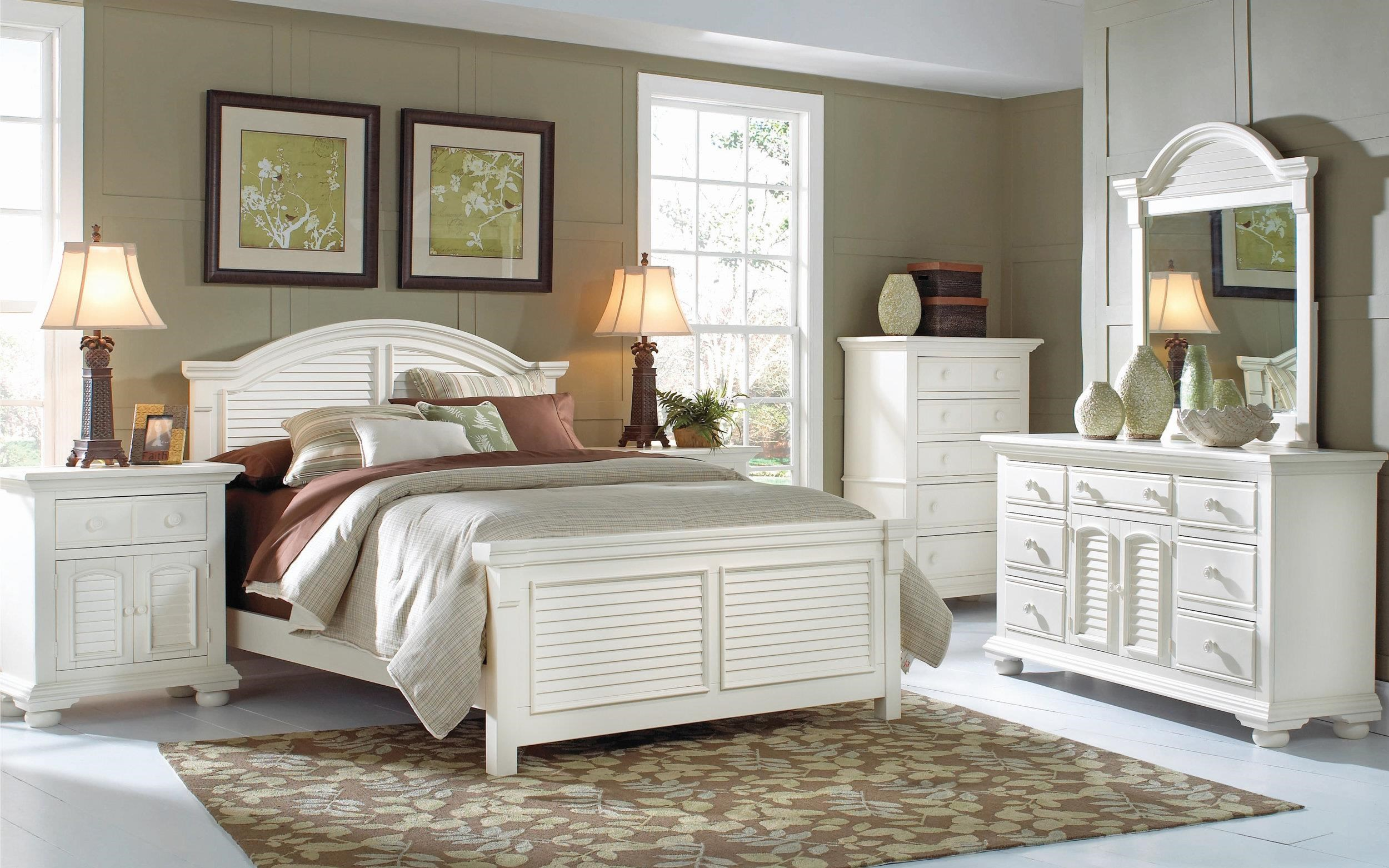 Cottage Traditions Queen Panel Bed, Nightstand, Dresser, Mirror by American Woodcrafters at Johnny Janosik
