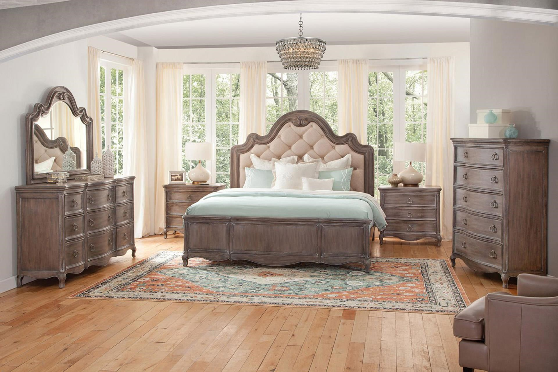 Queen Bed with Dresser, Mirror, & Nightstand