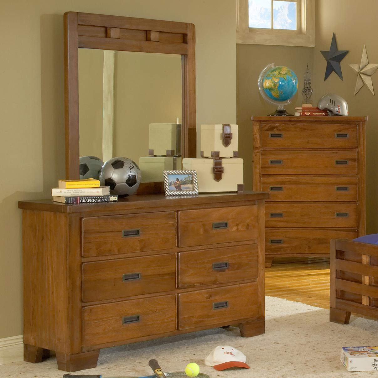 American Woodcrafters Heartland  Dresser and Mirror - Item Number: 1800-260+030