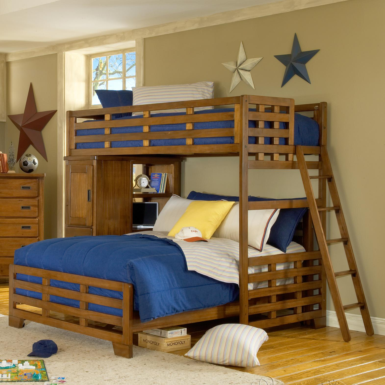 American Woodcrafters Heartland Twin Loft Bed Over Full Lower Bed