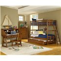 American Woodcrafters Heartland  Twin Bunk Bed w/ Trundle - 913+906 - Bunk Bed with Trundle Shown in Room Setting with Desk, Hutch, Chair and Chest