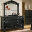 American Woodcrafters Heirloom Triple Dresser with 10 Drawers - Shown with Coordinating Mirror