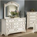 American Woodcrafters Heirloom Triple Dresser with Landscape Mirror Combination - 2910-210+040