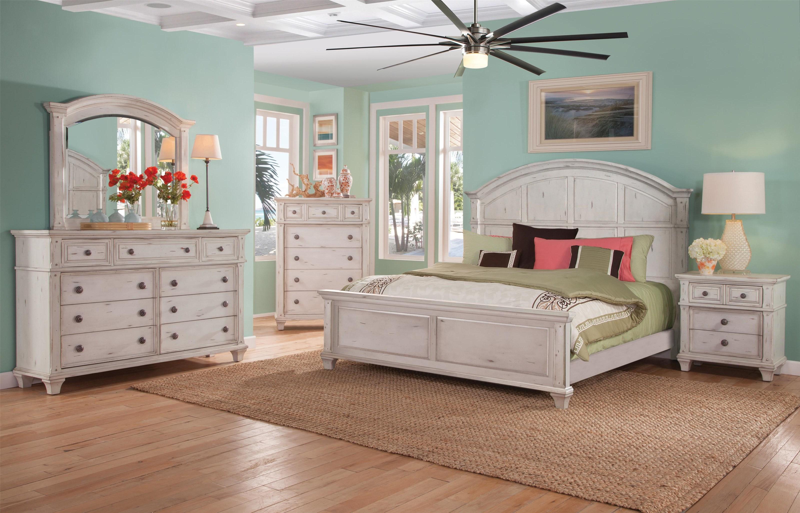 American Woodcrafters Sedona King Panel Bed, Dresser, Mirror, Nightstand - Item Number: 9930443