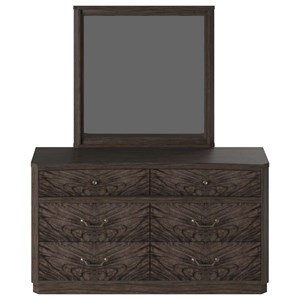 Silhouette Contemporary Dresser and Mirror Set with Felt-Lined Top Drawers by American Woodcrafters