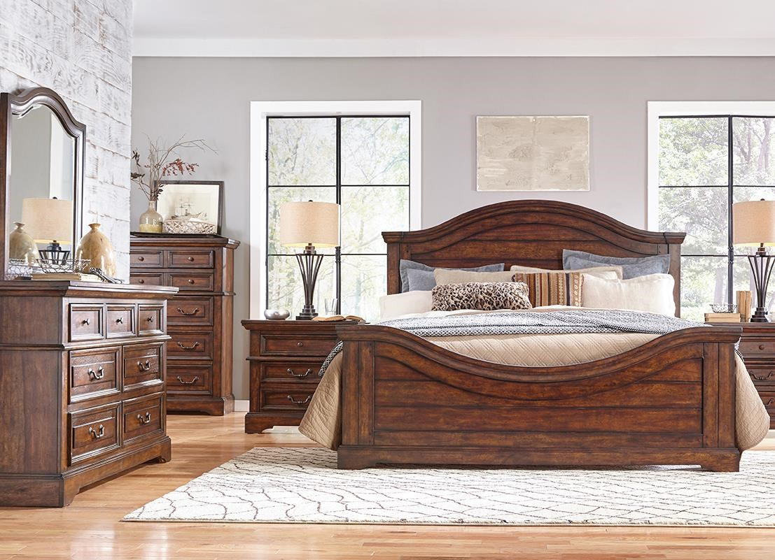 Stonebrook Tobacco Queen Bedroom Group by American Woodcrafters at Johnny Janosik