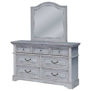 American Woodcrafters Stonebrook Dresser and Mirror Set