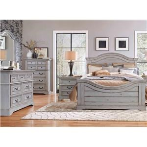 American Woodcrafters Stonebrook King Bed, Dresser, Mirror, and Nightstand