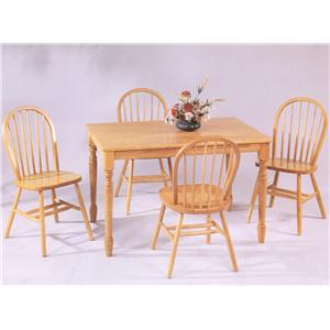 Amesbury Chair Farmhouse and Traditional Windsor Rectangular Table and Chair Set