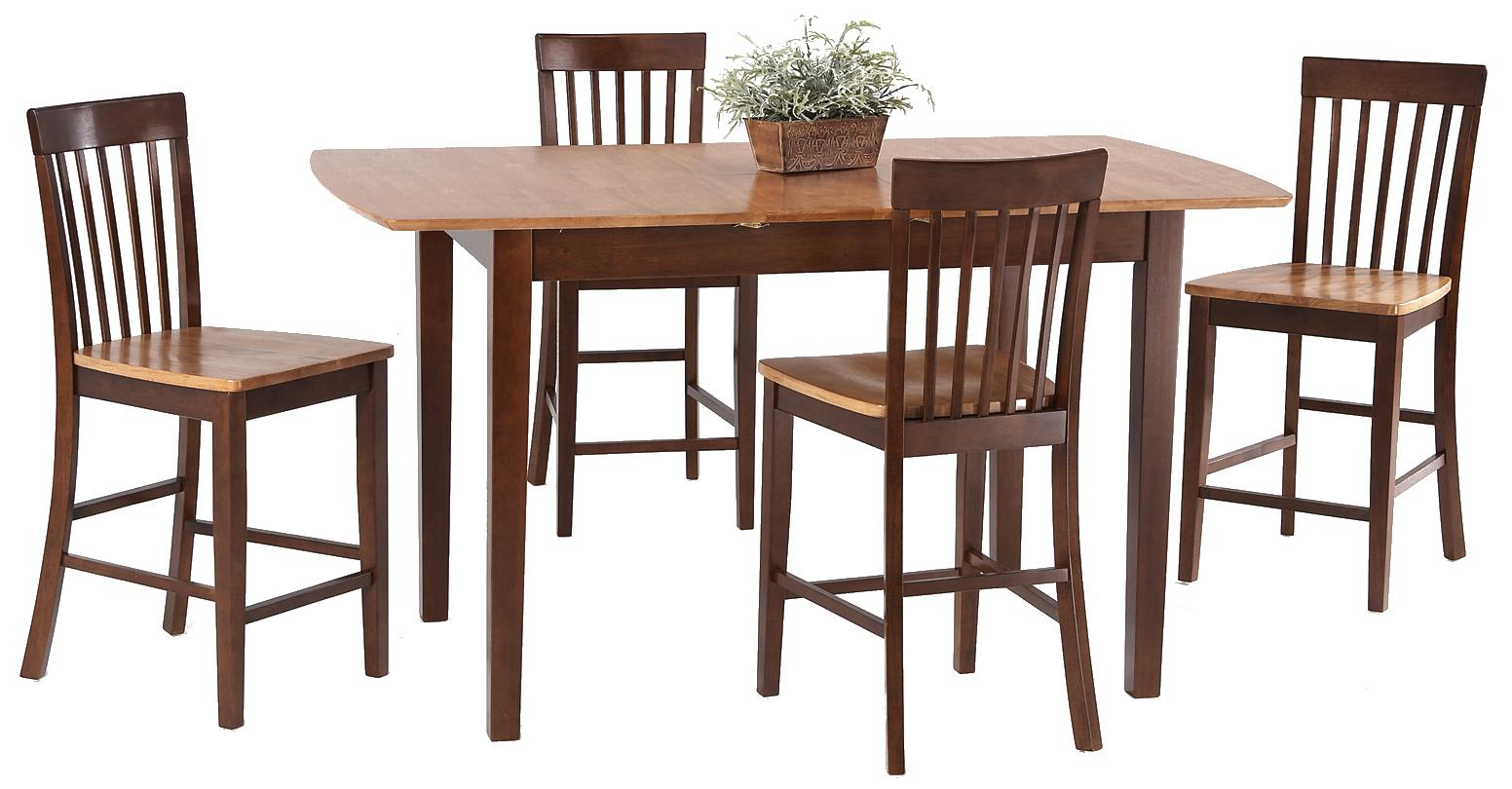 5-Piece Butterfly Leaf Pub Table Set
