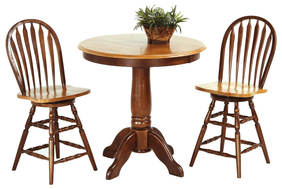 3-Piece Solid Hardwood Pub Table Set