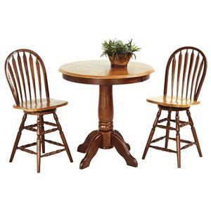 3-Piece Solid Hardwood Pub Table Set