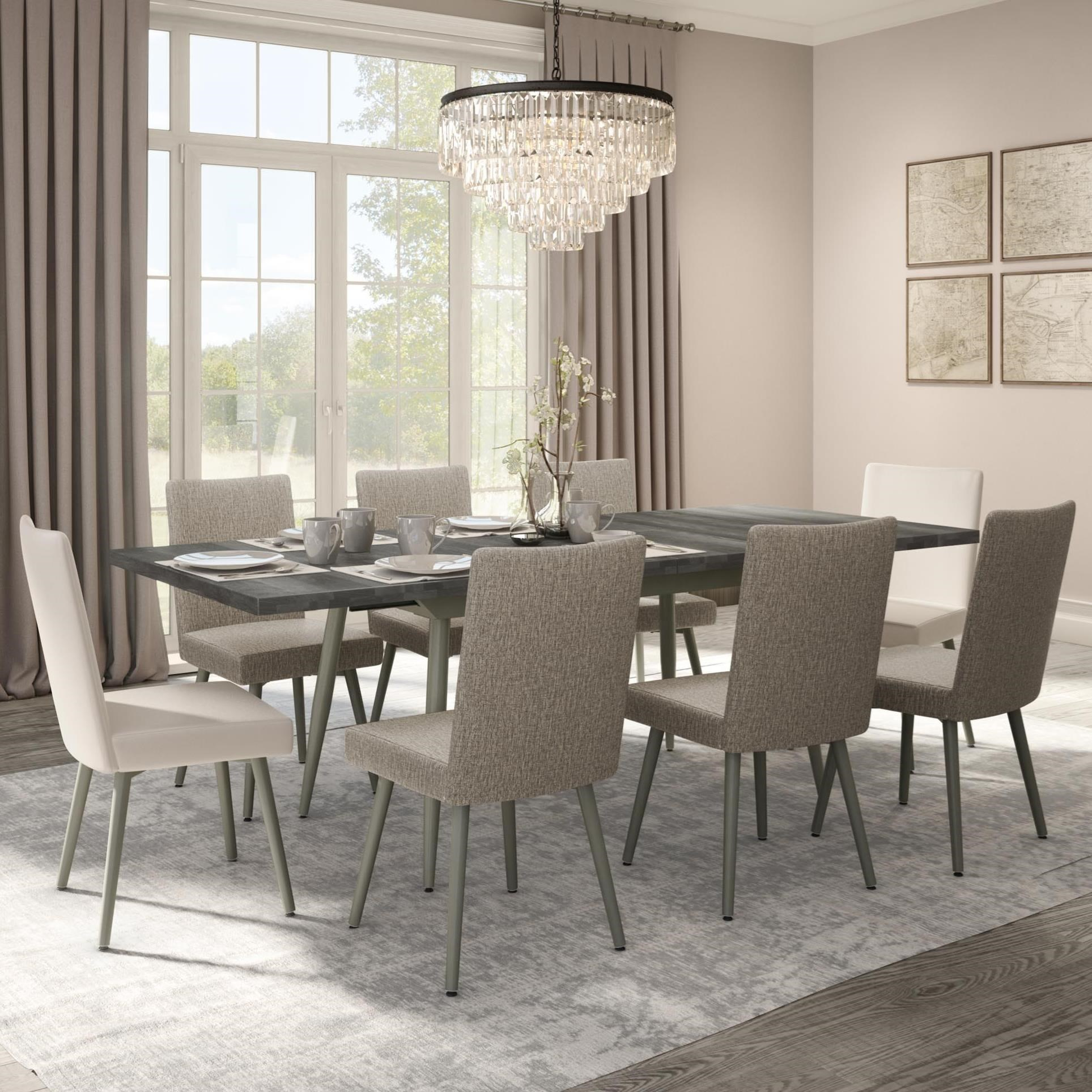 Boudoir 9-Piece Belleville Extendable Table Set by Amisco at Jordan's Home Furnishings