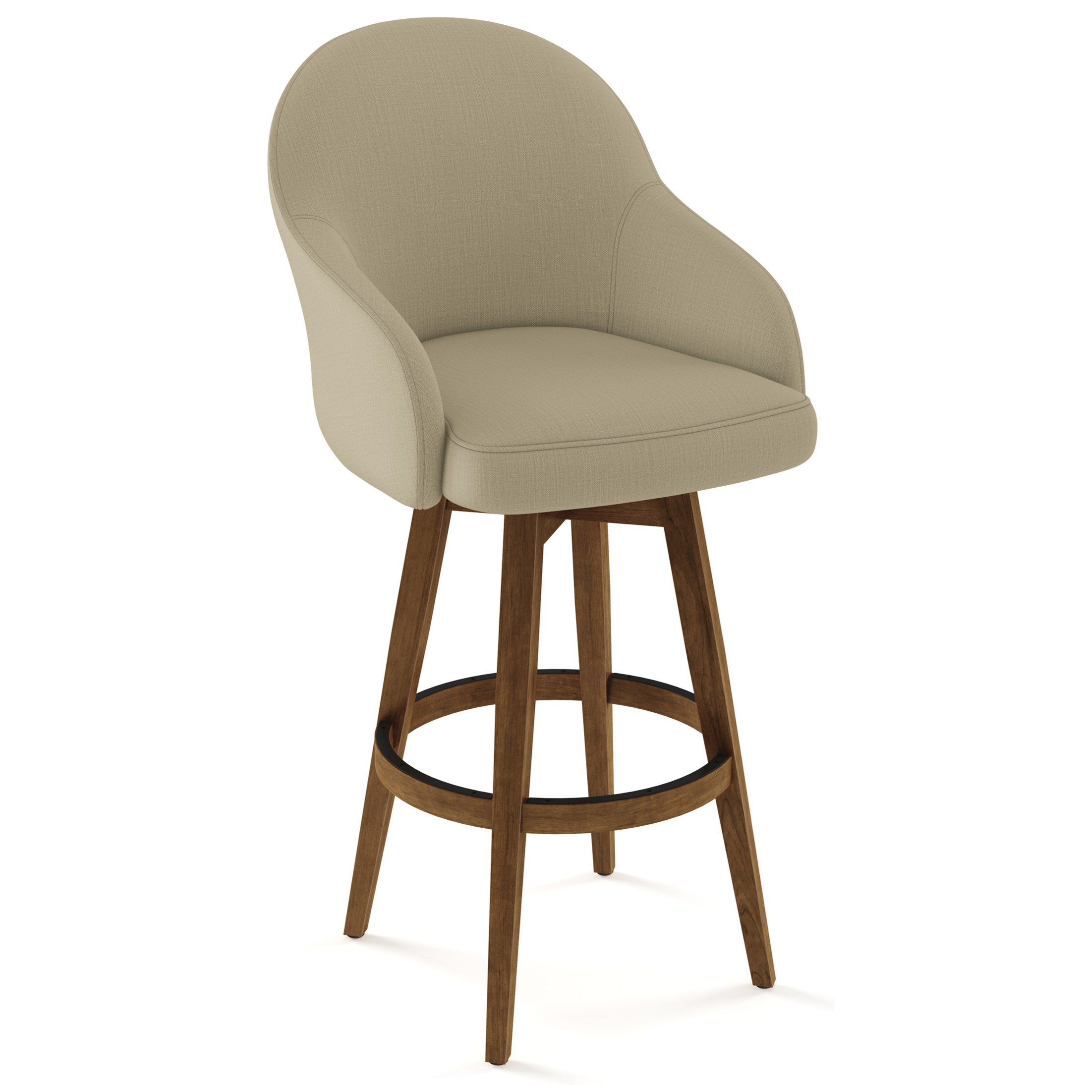 Picture of: Amisco Farmhouse Customizable 30 Collin Swivel Bar Stool With Upholstered Seat And Back Belfort Furniture Bar Stools
