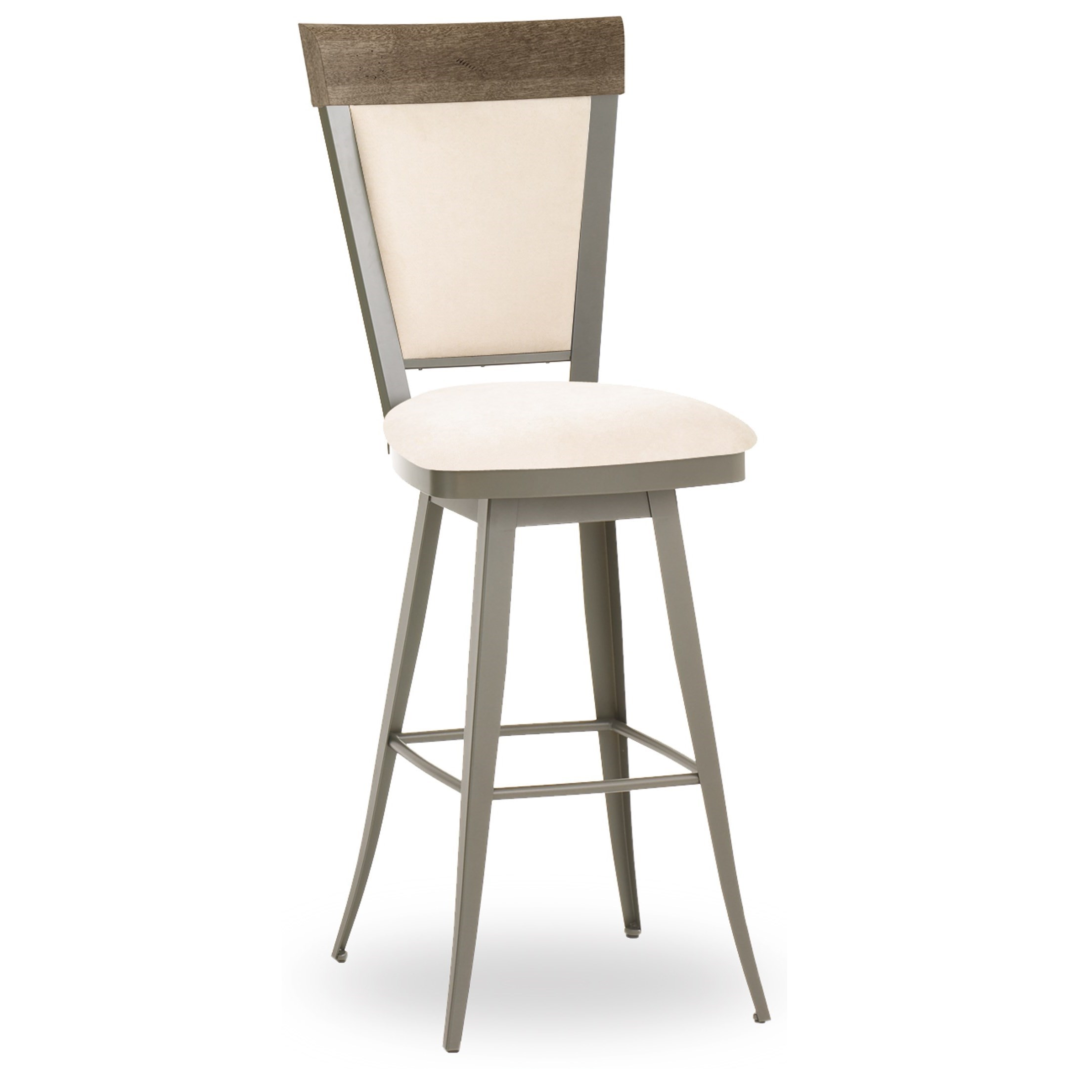 Picture of: Amisco Farmhouse Customizable 30 Eleanor Swivel Bar Stool With Upholstered Seat And Back A1 Furniture Mattress Bar Stools