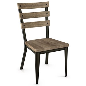 2257 Industrial Dexter Chair with Wood Seat