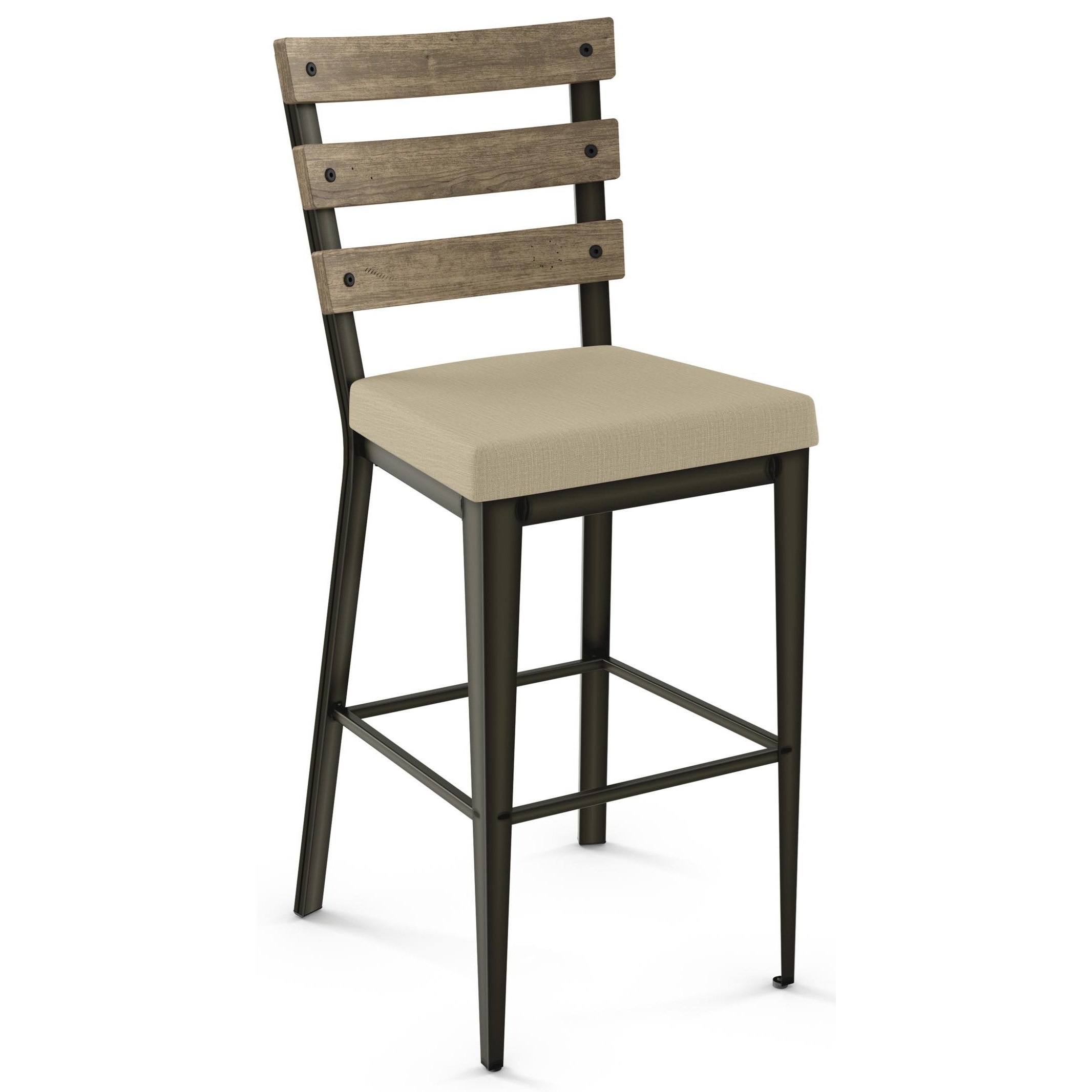 "Industrial 26"" Dexter Counter Stool w/ Upholstered Seat by Amisco at Johnny Janosik"