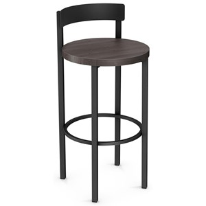 "30"" Zoe Bar Stool with Wood Seat"
