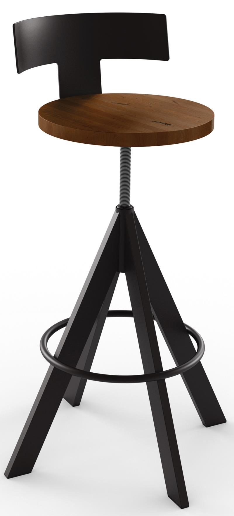 Amisco Industrial Uplift Adjustable Height Stool With Wood