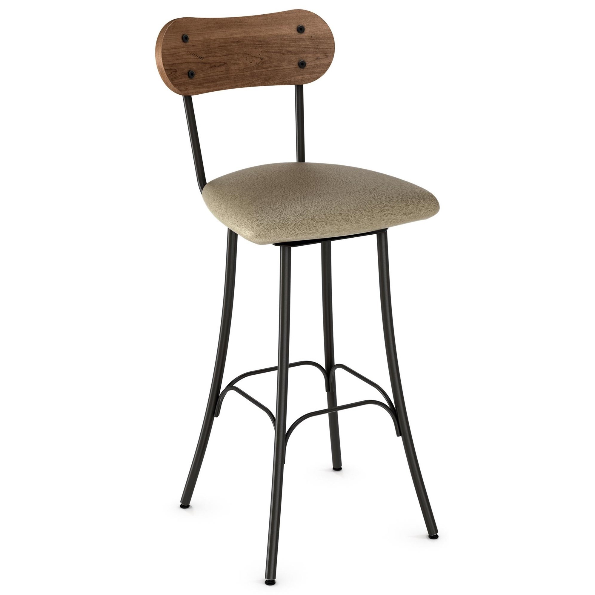 "26"" Bean Swivel Stool with Upholstered Seat"