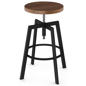 Architect Screw Stool with Wood Seat